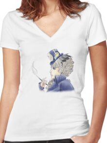 Blue Smoke Women's Fitted V-Neck T-Shirt