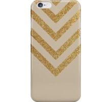 Beige and gold chevron pattern iPhone Case/Skin