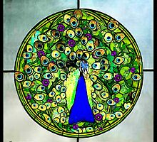 Stained Glass Template: Blooming Peacock by ecannon11