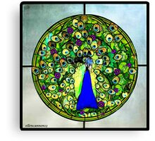 Stained Glass Template: Blooming Peacock Canvas Print