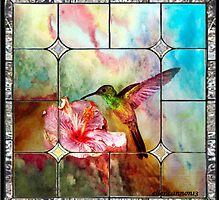 Stained Glass Template: Hummingbird by ecannon11