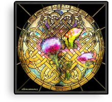 Stained Glass Template: Thistle Butterfly Canvas Print