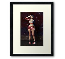 Anime Girl - Stars and Stripes Framed Print
