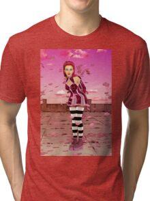 Pink Sakura - Anime Girl Tri-blend T-Shirt