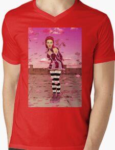 Pink Sakura - Anime Girl Mens V-Neck T-Shirt
