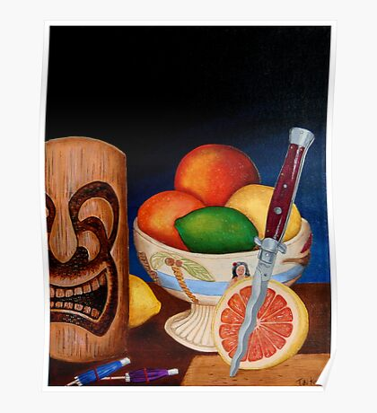 Grapefruit with Italian switchblade Poster