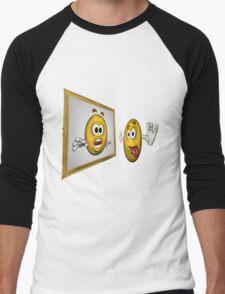 Cute Smiley Face In Mirror Men's Baseball ¾ T-Shirt