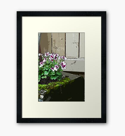 Geranium In Mossy Wood Planter - Digital Art  Framed Print