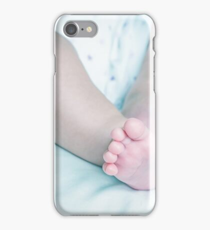 Baby legs on a bed iPhone Case/Skin