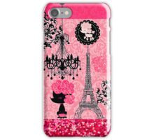 French Girly Eiffel Tower, Poodle & Damask Elegant iPhone Case/Skin