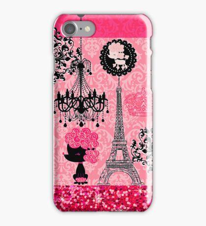 French Girly Eiffel Tower, Poodle & Damask Elegant iPhone Case/Skin