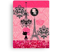 French Girly Eiffel Tower, Poodle & Damask Elegant Canvas Print