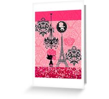 French Girly Eiffel Tower, Poodle & Damask Elegant Greeting Card