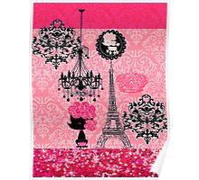 French Girly Eiffel Tower, Poodle & Damask Elegant Poster