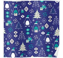 Cute Christmas Penguins Pattern Poster