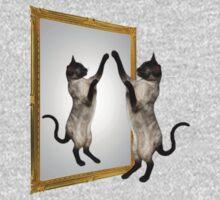 Cute Siamese Cat In Mirror One Piece - Long Sleeve