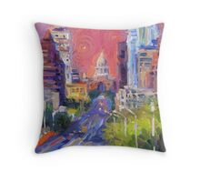 Austin Downtown art painting Congress Avenue Svetlana Novikova  Throw Pillow