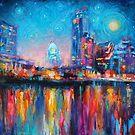Impressionistic Austin Art Night Skyline cityscape #2 Svetlana Novikova  by Svetlana  Novikova
