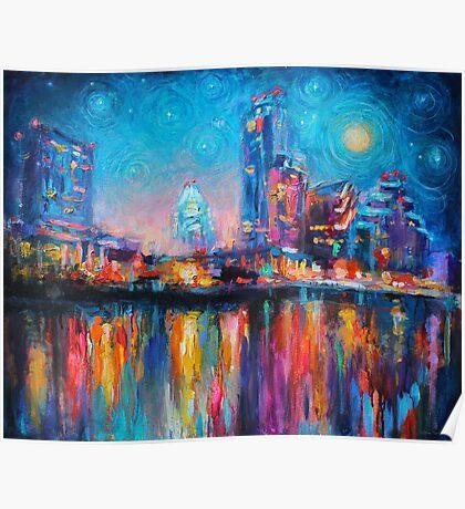 Impressionistic Austin Art Night Skyline cityscape #2 Svetlana Novikova  Poster