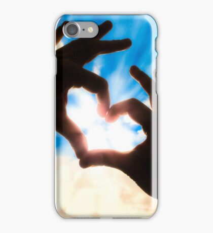 Silhouette hands in heart shape and blue sky iPhone Case/Skin
