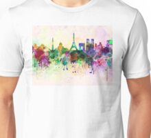 Paris skyline in watercolor background Unisex T-Shirt