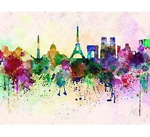Paris skyline in watercolor background Photographic Print