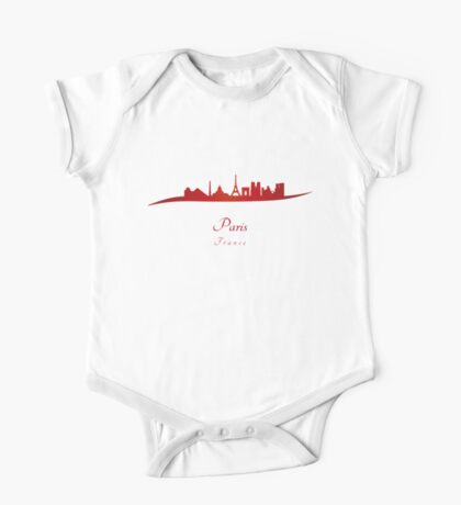 Paris skyline in red One Piece - Short Sleeve