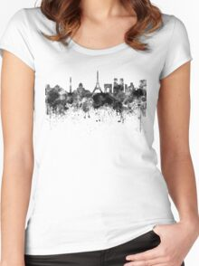 Paris skyline in black watercolor Women's Fitted Scoop T-Shirt