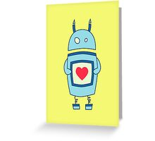 Cute Clumsy Robot With Heart Greeting Card