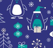 Cute Christmas Penguins Pattern Sticker