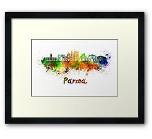 Parma skyline in watercolor Framed Print