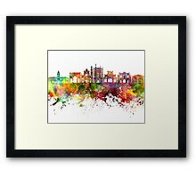 Parma skyline in watercolor background Framed Print