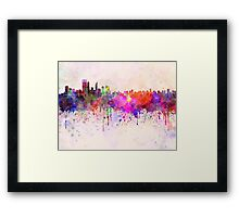Perth skyline in watercolor background Framed Print