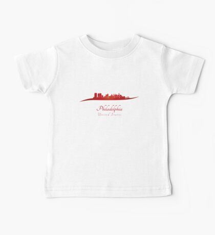 Philadelphia skyline in red Baby Tee