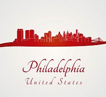 Philadelphia skyline in red by paulrommer