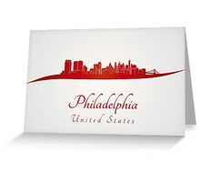 Philadelphia skyline in red Greeting Card