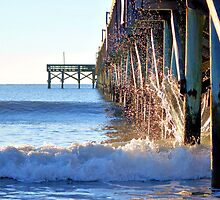 Crashing Waves At Pier by Dawne Dunton