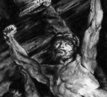 Elevation of the Cross, charcoal study after Rubens by Pam Humbargar