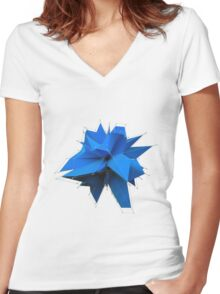 Blue Polygon Women's Fitted V-Neck T-Shirt