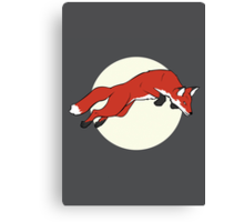 Night Fox Flies over the Moon Canvas Print