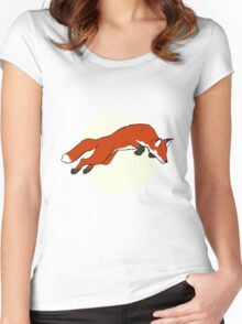 Night Fox Flies over the Moon Women's Fitted Scoop T-Shirt