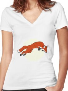 Night Fox Flies over the Moon Women's Fitted V-Neck T-Shirt