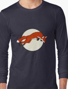 Night Fox Flies over the Moon Long Sleeve T-Shirt