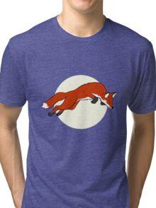 Night Fox Flies over the Moon Tri-blend T-Shirt