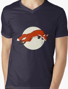 Night Fox Flies over the Moon Mens V-Neck T-Shirt