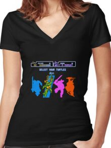Turtles in Time - Michelangelo Women's Fitted V-Neck T-Shirt