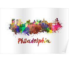 Philadelphia skyline in watercolor Poster
