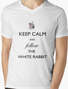 Keep Calm and follow the White Rabbit  Mens V-Neck T-Shirt
