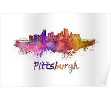 Pittsburgh skyline in watercolor Poster