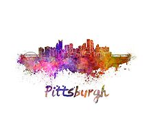 Pittsburgh skyline in watercolor Photographic Print